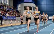 1 March 2020; Louise Shanahan of Leevale AC, Cork, left, on her way to winning the Senior Women's 1500m event, ahead of Ciara Everard of UCD AC, Dublin, during Day Two of the Irish Life Health National Senior Indoor Athletics Championships at the National Indoor Arena in Abbotstown in Dublin. Photo by Sam Barnes/Sportsfile