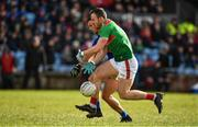 1 March 2020; Darren Coen of Mayo is dispossessed by Shane Enright of Kerry during the Allianz Football League Division 1 Round 5 match between Mayo and Kerry at Elverys MacHale Park in Castlebar, Mayo. Photo by Brendan Moran/Sportsfile