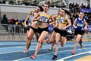 1 March 2020; Ciara Everard of UCD AC, Dublin, leads the field, alongside eventual winner Louise Shanahan of Leevale AC, Cork, second from right, in the Senior Women's 1500m event during Day Two of the Irish Life Health National Senior Indoor Athletics Championships at the National Indoor Arena in Abbotstown in Dublin. Photo by Sam Barnes/Sportsfile