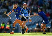 1 March 2020; Margo Heffernan of Gailltír in action against Kate Kenny, left, and Sinéad Hanamy of St Rynagh's during the AIB All-Ireland Intermediate Camogie Club Championship Final match between Gailltír and St Rynaghs at Croke Park in Dublin. Photo by Harry Murphy/Sportsfile