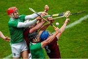 1 March 2020; Barry Nash and Darragh O'Donovan of Limerick in action against Derek McNicholas and Joey Boyle of Westmeath during the Allianz Hurling League Division 1 Group A Round 5 match between Limerick and Westmeath at LIT Gaelic Grounds in Limerick. Photo by Diarmuid Greene/Sportsfile