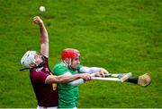 1 March 2020; Derek McNicholas of Westmeath in action against Barry Nash of Limerick during the Allianz Hurling League Division 1 Group A Round 5 match between Limerick and Westmeath at LIT Gaelic Grounds in Limerick. Photo by Diarmuid Greene/Sportsfile