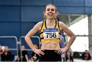 1 March 2020; Louise Shanahan of Leevale AC, Cork, after winning the Senior Women's 1500m event during Day Two of the Irish Life Health National Senior Indoor Athletics Championships at the National Indoor Arena in Abbotstown in Dublin. Photo by Sam Barnes/Sportsfile