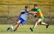 1 March 2020; Darren Hughes of Monaghan in action against Caolan McGonagle of Donegal during the Allianz Football League Division 1 Round 5 match between Donegal and Monaghan at Fr. Tierney Park in Ballyshannon, Donegal. Photo by Oliver McVeigh/Sportsfile