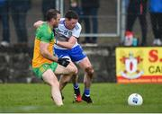 1 March 2020; Conor McManus of Monaghan in action against Neil McGee of Donegal during the Allianz Football League Division 1 Round 5 match between Donegal and Monaghan at Fr. Tierney Park in Ballyshannon, Donegal. Photo by Oliver McVeigh/Sportsfile