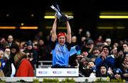 1 March 2020; Gailltír captain Áine Lyng lifts the cup following the AIB All-Ireland Intermediate Camogie Club Championship Final match between Gailltír and St Rynaghs at Croke Park in Dublin. Photo by Harry Murphy/Sportsfile