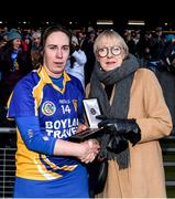 1 March 2020; Siobhán Flannery of St Rynagh's is presented with the Player of the Match award by Maol Muire Tynan, Head of Public Affairs AIB Bank, for her outstanding performance in the AIB Intermediate Camogie Club Championship Final, St Rynagh's and Gailltír in Croke Park on Sunday, March 1st. Photo by Harry Murphy/Sportsfile