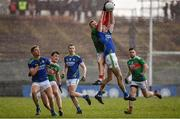 1 March 2020; Ryan O'Donoghue of Mayo and Diarmuid O'Connor of Kerry contests a kickout during the Allianz Football League Division 1 Round 5 match between Mayo and Kerry at Elverys MacHale Park in Castlebar, Mayo. Photo by Brendan Moran/Sportsfile