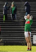 1 March 2020; Keith Higgins of Mayo reacts after missing an injury time scoring chance to level the score during the Allianz Football League Division 1 Round 5 match between Mayo and Kerry at Elverys MacHale Park in Castlebar, Mayo. Photo by Brendan Moran/Sportsfile