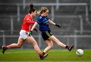 1 March 2020; Lisa Cafferky of Mayo shoots to score her side's first goal of the game, despite pressure from Marie Ambrose of Cork, during the Lidl Ladies National Football League Division 1 match between Cork and Mayo at Mallow GAA Complex in Cork. Photo by Seb Daly/Sportsfile