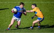 1 March 2020; Oisin Pierson of Cavan in action against Jack Browne of Clare during the Allianz Football League Division 2 Round 5 match between Cavan and Clare at Kingspan Breffni Park in Cavan. Photo by Philip Fitzpatrick/Sportsfile