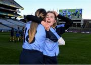 1 March 2020; Úna Jackman, right, and Áine O'Keeffe of Gailltír celebrate following the AIB All-Ireland Intermediate Camogie Club Championship Final match between Gailltír and St Rynaghs at Croke Park in Dublin. Photo by Harry Murphy/Sportsfile