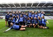1 March 2020; Gailltír players celebrate with the trophy following during the AIB All-Ireland Intermediate Camogie Club Championship Final match between Gailltír and St Rynaghs at Croke Park in Dublin. Photo by Harry Murphy/Sportsfile