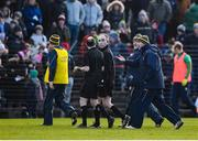 1 March 2020; Meath manager Andy McEntee speaks to referee Niall Cullen at half time during the Allianz Football League Division 1 Round 5 match between Meath and Galway at Páirc Tailteann in Navan, Meath. Photo by Daire Brennan/Sportsfile