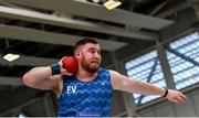 1 March 2020; John Kelly of Finn Valley AC, Donegal, competing in the Senior Men's Shotput event during Day Two of the Irish Life Health National Senior Indoor Athletics Championships at the National Indoor Arena in Abbotstown in Dublin. Photo by Eóin Noonan/Sportsfile