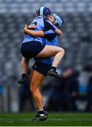 1 March 2020; Shauna Fitzgerald and Leah Sheridan of Gailltír celebrate following the AIB All-Ireland Intermediate Camogie Club Championship Final match between Gailltír and St Rynaghs at Croke Park in Dublin. Photo by Harry Murphy/Sportsfile