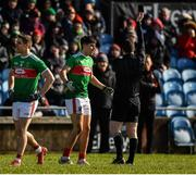 1 March 2020; Oisin Mullen of Mayo is shown a black card by referee Martin McNally during the Allianz Football League Division 1 Round 5 match between Mayo and Kerry at Elverys MacHale Park in Castlebar, Mayo. Photo by Brendan Moran/Sportsfile