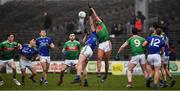 1 March 2020; Aidan O'Shea of Mayo and Jack Barry of Kerry contests a throw in to restart play during the Allianz Football League Division 1 Round 5 match between Mayo and Kerry at Elverys MacHale Park in Castlebar, Mayo. Photo by Brendan Moran/Sportsfile