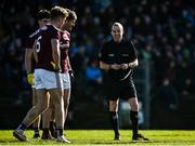 1 March 2020; Referee Niall Cullen speaks to Galway players John Daly, left, and Gary O'Donnell during the Allianz Football League Division 1 Round 5 match between Meath and Galway at Páirc Tailteann in Navan, Meath. Photo by Daire Brennan/Sportsfile