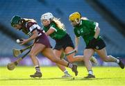 1 March 2020; Shannon Graham of Slaughtneil in action against Clodagh McGrath and Siobhán McGrath of Sarsfields during the AIB All-Ireland Senior Camogie Club Championship Final match between Sarsfields and Slaughtneil at Croke Park in Dublin. Photo by Harry Murphy/Sportsfile