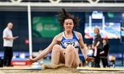 1 March 2020; Michaela Byrne of Finn Valley AC, Donegal, competing in the Senior Women's Long Jump event during Day Two of the Irish Life Health National Senior Indoor Athletics Championships at the National Indoor Arena in Abbotstown in Dublin. Photo by Eóin Noonan/Sportsfile