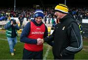 1 March 2020; Laois manager Eddie Brennan with Kilkenny manager Brian Cody following the Allianz Hurling League Division 1 Group B Round 5 match between Laois and Kilkenny at UPMC Nowlan Park in Kilkenny. Photo by Michael P Ryan/Sportsfile