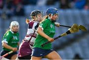 1 March 2020; Sheena Warde of Sarsfields in action against Louise Dougan of Slaughtneil during the AIB All-Ireland Senior Camogie Club Championship Final match between Sarsfields and Slaughtneil at Croke Park in Dublin. Photo by Harry Murphy/Sportsfile