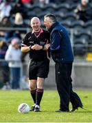 1 March 2020; Referee Jonathan Murphy and Mayo manager Peter Leahy during the Lidl Ladies National Football League Division 1 match between Cork and Mayo at Mallow GAA Complex in Cork. Photo by Seb Daly/Sportsfile