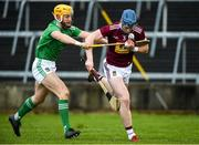 1 March 2020; Tommy Doyle of Westmeath in action against Séamus Flanagan of Limerick during the Allianz Hurling League Division 1 Group A Round 5 match between Limerick and Westmeath at LIT Gaelic Grounds in Limerick. Photo by Diarmuid Greene/Sportsfile
