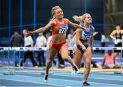 1 March 2020; Sarah Quinn of St Colmans South Mayo AC, left, on her way to winning the Senior Women's 60m Hurdles event, ahead of Molly Scott of St Laurence O'Toole AC, Carlow, during Day Two of the Irish Life Health National Senior Indoor Athletics Championships at the National Indoor Arena in Abbotstown in Dublin. Photo by Sam Barnes/Sportsfile