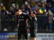 1 March 2020; Referee David Coldrick issues a black card to Rory Beggan of Monaghan during the Allianz Football League Division 1 Round 5 match between Donegal and Monaghan at Fr. Tierney Park in Ballyshannon, Donegal. Photo by Oliver McVeigh/Sportsfile