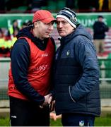 1 March 2020; Westmeath manager Shane O'Brien and Limerick manager John Kiely exchange a handshake after the Allianz Hurling League Division 1 Group A Round 5 match between Limerick and Westmeath at LIT Gaelic Grounds in Limerick. Photo by Diarmuid Greene/Sportsfile