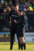 1 March 2020; Referee David Coldrick about to issue a black card to Rory Beggan of Monaghan during the Allianz Football League Division 1 Round 5 match between Donegal and Monaghan at Fr. Tierney Park in Ballyshannon, Donegal. Photo by Oliver McVeigh/Sportsfile