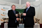 2 March 2020; John Copithorne of Cork is presented the McAuliffe Cup by Chairperson of the Athletics Ireland Juvenile Committee John McGrath during the Juvenile Star Awards 2019 at The Bridge Hotel in Tullamore, Offaly. Photo by Harry Murphy/Sportsfile