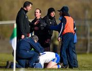 1 March 2020; Referee David Coldrick, centre, talks to linesman Martin Hurson as Conor McManus of Monaghan is treated for an injury during the Allianz Football League Division 1 Round 5 match between Donegal and Monaghan at Fr. Tierney Park in Ballyshannon, Donegal. Photo by Oliver McVeigh/Sportsfile