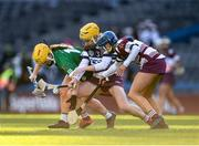1 March 2020; Siobhán McGrath of Sarsfields in action against Gráinne Ní Chatháin and Clare McGrath of Slaughtneil during the AIB All-Ireland Senior Camogie Club Championship Final match between Sarsfields and Slaughtneil at Croke Park in Dublin. Photo by Harry Murphy/Sportsfile