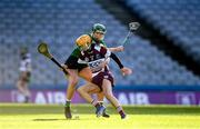 1 March 2020; Tina Bradley of Slaughtneil in action against Aoibhe Deeley of Sarsfields during the AIB All-Ireland Senior Camogie Club Championship Final match between Sarsfields and Slaughtneil at Croke Park in Dublin. Photo by Harry Murphy/Sportsfile