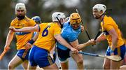 1 March 2020; Eamon Dillon of Dublin is tackled by Pat O'Connor of Clare during the Allianz Hurling League Division 1 Group B Round 5 match between Clare and Dublin at Cusack Park in Ennis, Clare. Photo by Ray McManus/Sportsfile