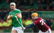 1 March 2020; Kyle Hayes of Limerick in action against Josh Coll of Westmeath during the Allianz Hurling League Division 1 Group A Round 5 match between Limerick and Westmeath at LIT Gaelic Grounds in Limerick. Photo by Diarmuid Greene/Sportsfile