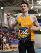 1 March 2020; Mark English of UCD AC, Dublin, celebrates after winning the Senior Men's 800m event during Day Two of the Irish Life Health National Senior Indoor Athletics Championships at the National Indoor Arena in Abbotstown in Dublin. Photo by Sam Barnes/Sportsfile