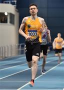 1 March 2020; Mark English of UCD AC, Dublin, on his way to winning the Senior Men's 800m event during Day Two of the Irish Life Health National Senior Indoor Athletics Championships at the National Indoor Arena in Abbotstown in Dublin. Photo by Sam Barnes/Sportsfile