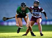 1 March 2020; Kate Gallagher of Sarsfields in action against Olivia Rafferty of Slaughtneil during the AIB All-Ireland Senior Camogie Club Championship Final match between Sarsfields and Slaughtneil at Croke Park in Dublin. Photo by Harry Murphy/Sportsfile
