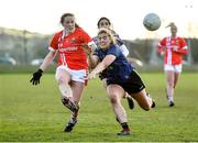 1 March 2020; Aine Terry of Cork scores a point, despite pressure from Maria Reilly of Mayo, during the Lidl Ladies National Football League Division 1 match between Cork and Mayo at Mallow GAA Complex in Cork. Photo by Seb Daly/Sportsfile