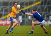 1 March 2020; John Conlon of Clare in action against Padraig Faulkner of Cavan during the Allianz Football League Division 2 Round 5 match between Cavan and Clare at Kingspan Breffni Park in Cavan. Photo by Philip Fitzpatrick/Sportsfile