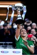 1 March 2020; Niamh McGrath of Sarsfields lifts the cup following the AIB All-Ireland Senior Camogie Club Championship Final match between Sarsfields and Slaughtneil at Croke Park in Dublin. Photo by Harry Murphy/Sportsfile