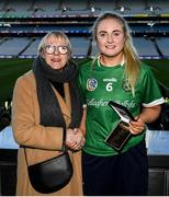 1 March 2020; Aoife Ní Chaiside of Slaughtneil is presented with the Player of the Match award, from Maol Muire Tynan, Head of Public Affairs AIB Bank, for her outstanding performance in the AIB Intermediate Camogie Club Championship Final, St Rynagh's v Gailltír in Croke Park on Sunday, March 1st. Photo by Harry Murphy/Sportsfile