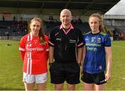 1 March 2020; Referee Jonathan Murphy with team captains Aisling Hutchings of Cork, left, and Sinéad Cafferky  of Mayo prior to the Lidl Ladies National Football League Division 1 match between Cork and Mayo at Mallow GAA Complex in Cork. Photo by Seb Daly/Sportsfile