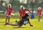 1 March 2020; Noirin Moran of Mayo in action against Saoirse Noonan of Cork during the Lidl Ladies National Football League Division 1 match between Cork and Mayo at Mallow GAA Complex in Cork. Photo by Seb Daly/Sportsfile