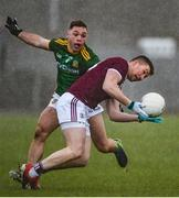 1 March 2020; Gearóid Breadseach of Galway in action against David Toner of Meath during the Allianz Football League Division 1 Round 5 match between Meath and Galway at Páirc Tailteann in Navan, Meath. Photo by Daire Brennan/Sportsfile