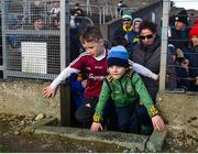 1 March 2020; Galway supporter Donnacha Kelleher, aged 8, and Meath supporter Cian McGrath, aged 4, from Dunshaughlin, Meath, enter the field at half time during the Allianz Football League Division 1 Round 5 match between Meath and Galway at Páirc Tailteann in Navan, Meath. Photo by Daire Brennan/Sportsfile